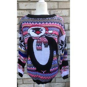 Alessandra Saroshi Penguin Holiday Sweater L/XL 🐧